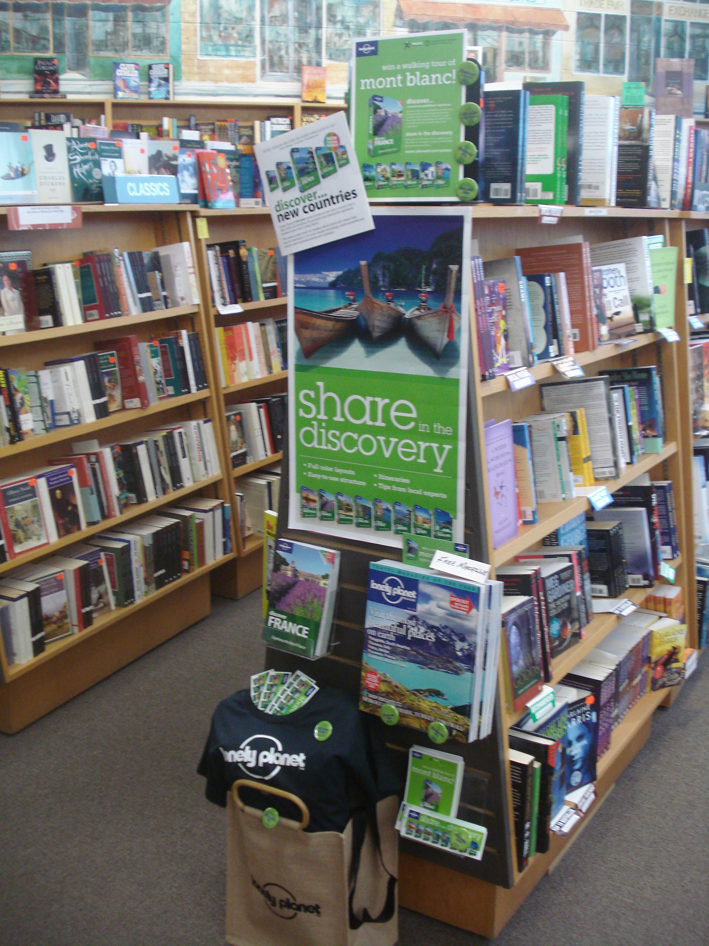 Black Bond Books' Lonely Planet Discover Display